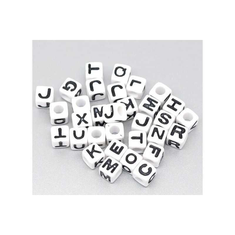 Perle Alphabet Blanche 7mm Lettre Cube Ecriture Noir Aléatoire