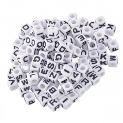 Perle Alphabet Blanche 7mm Lettre Cube Ecriture Noir Aléatoire MC0107142 - MC0107144
