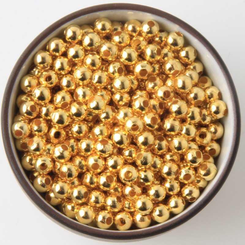 100 Perles en Métal Doré 4mm Brillant