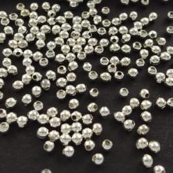100 Perles en metal Argenté 2mm Brillant MC0102040