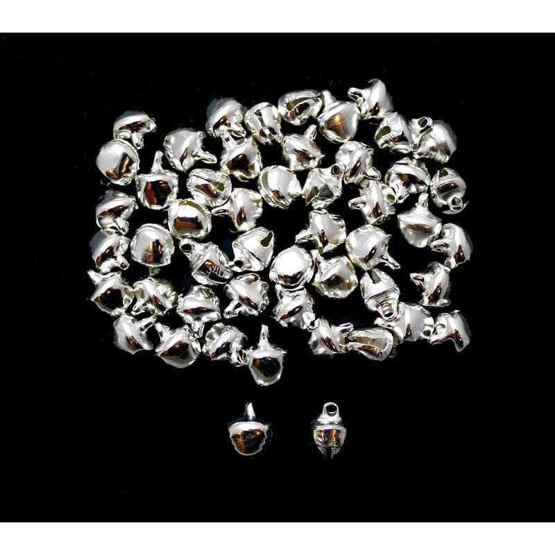 20 Cloche 10mm x 8mm x 7mm Grelots Metal Argente Clochette Jingle Bell