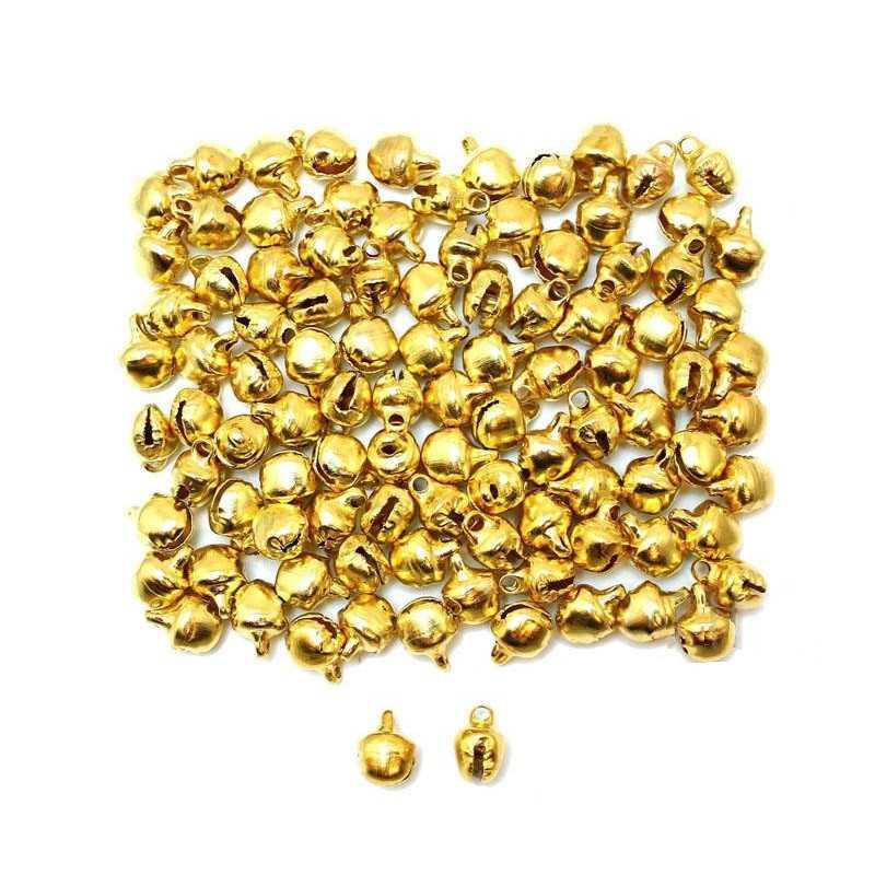 20 Cloche 10mm x 8mm x 7mm Grelots Metal Doré Clochette Jingle Bell