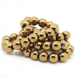 10 Perles Hematite Doré 10mm Non-Magnetique MC0110082