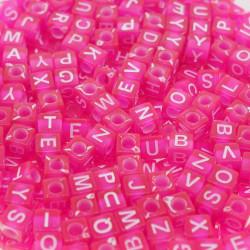 200 Perles Fuchsia Lettre Alphabet Cube 6mm Mixte MC0106126