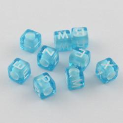 100 Perles Bleu Lettre Alphabet Cube 6mm Aléatoire MC0106127