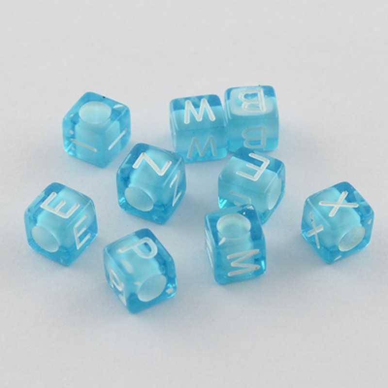 100 Perles Bleu Lettre Alphabet Cube 6mm Aléatoire