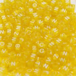 200 Perles Jaune Lettre Alphabet Cube 6mm Mixte MC0106130