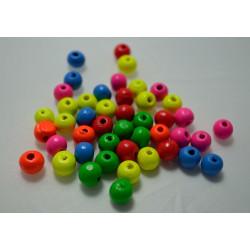 40 perles en bois brillant 8mm couleur mixte