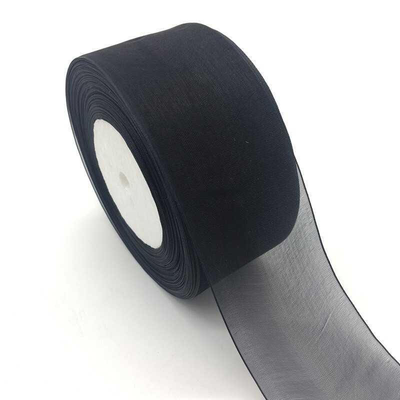 Ruban noir ORGANZA au mètre 50mm ( 5 cm)