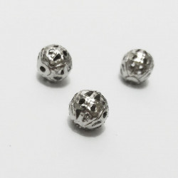 50 Perles 6mm Filigrane Rond Metal Charms Argente Mat MC0106210