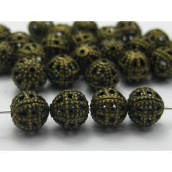 50 Perle 6mm Filigrane Bronze Rond Metal Charms MC0106211B