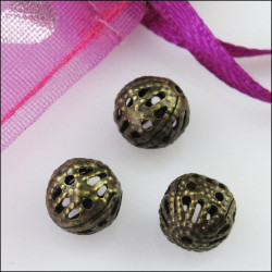 20 Perles 6mm Filigrane Bronze Rond Metal Charms MC0106211A