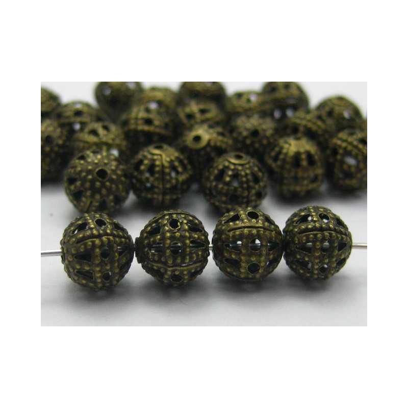 10 Perles 8mm Filigrane Bronze Rond Metal Charms