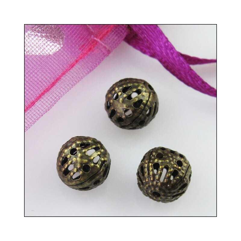 20 Perles 8mm Filigrane Bronze Rond Metal Charms