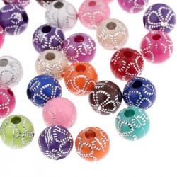 20 Perles en Acrylique Fleur 8mm Couleur Mixte MC0108255