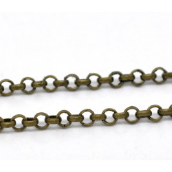 1m Chaine Chainette Maille Jaseron Bronze 3,2mm maillon Chaîne jaseron MC4000002