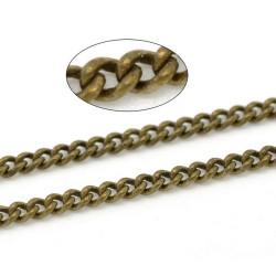 1m Chaine Maille Gourmette Bronze 3mm x 2mm Chainette Petit Maillon MC4000009