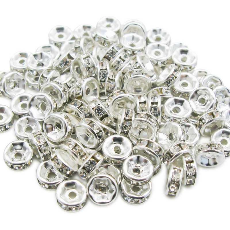 10 Perle Rondelle Strass Intercalaire Argenté 6mm