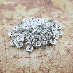 10 Perle Rondelle Strass Intercalaire Argenté 6mm MC0106213