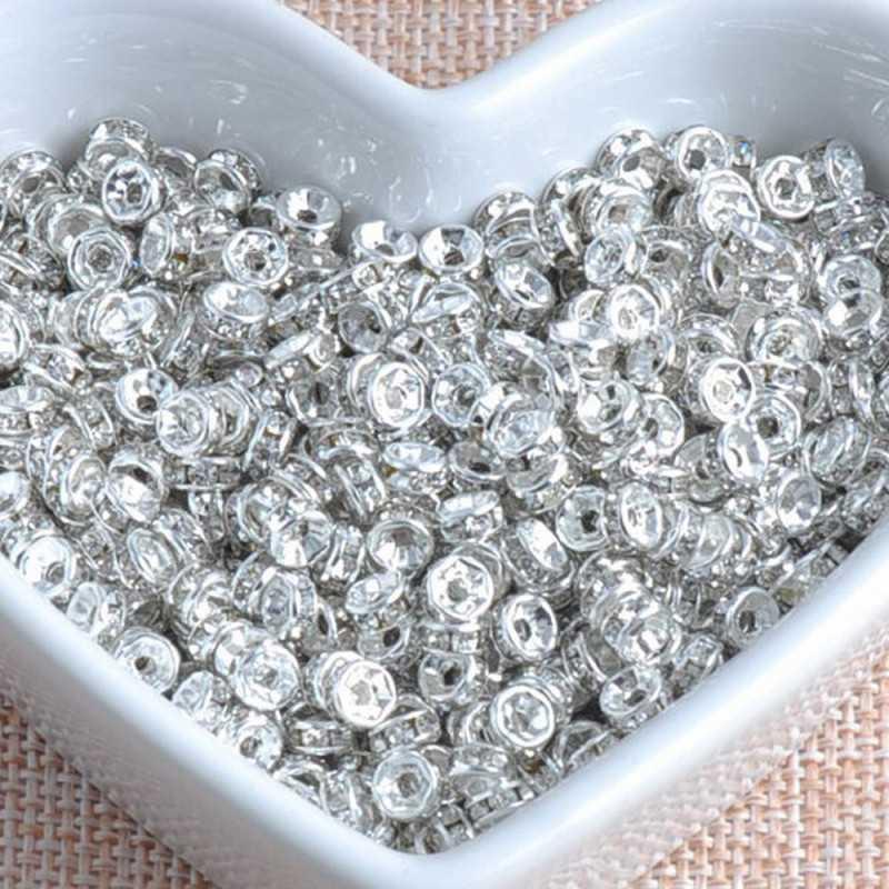 20 Perle Rondelle Strass Intercalaire Argenté 6mm