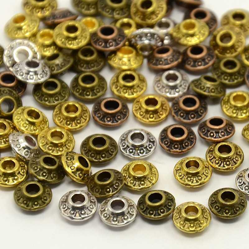 20 Perles en Métal Rondelle Mixte 6,5mm x 3,5mm Tibétain, Bicône