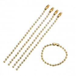 50 Chaînettes chaîne à billes avec fermoirs couleur or doré Neuf