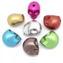 10 Perles Tete de Mort Brillante 13mm x 11mm Couleur Mixte Tete Squelette MC0400013