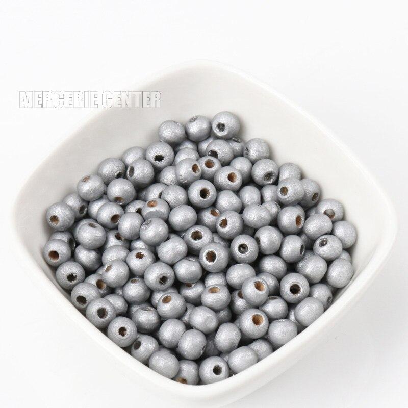 20 Perles en Bois 8mm Couleur Argenté
