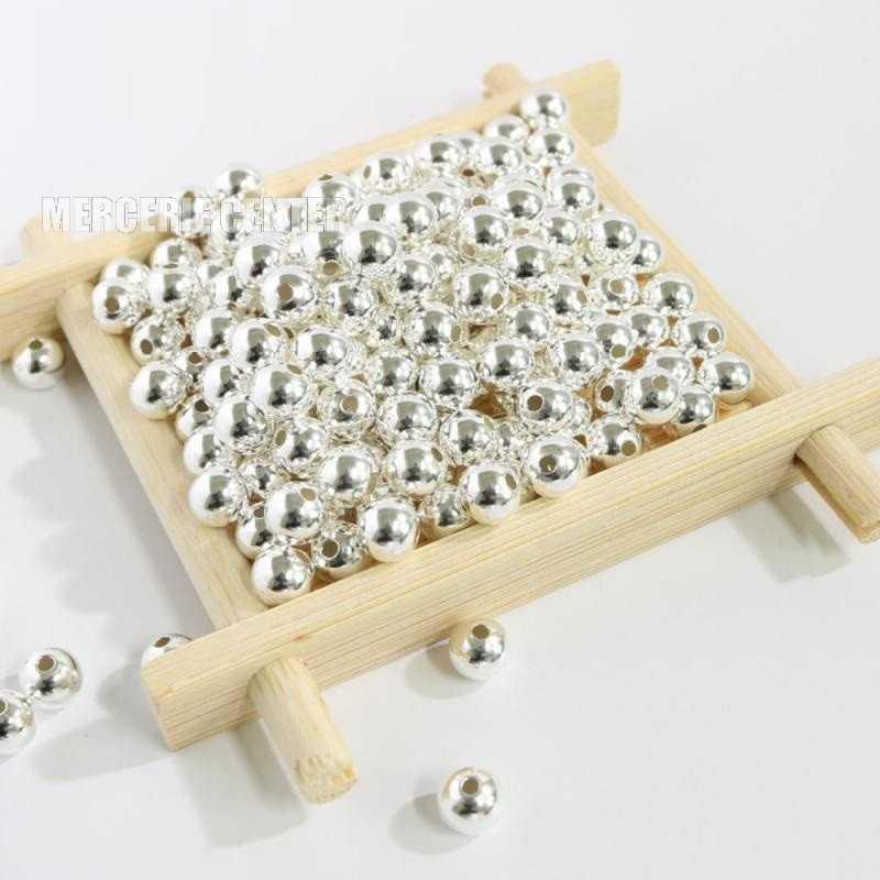 50 Perle Metal 5mm Couleur Argenté Brillant