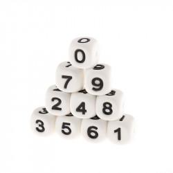 Perles Silicone Chiffre 12mm Blanc MC1200100