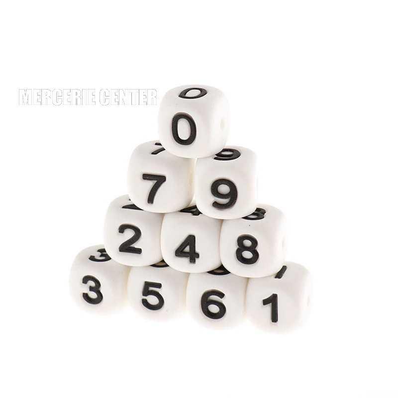 Perles Silicone Chiffre 12mm Blanc