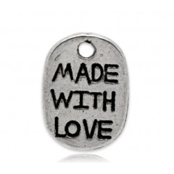 "10 ou 20 Pendentifs Argenté "" made with love "" 11mm x 8mm MC1100005"