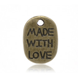 "10 ou 20 Pendentifs Bronze "" made with love "" 11mm x 8mm MC1100006"