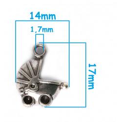 5 ou 10 Pendentif Poussette en Metal 19mm x 12mm Argenté MC1100007
