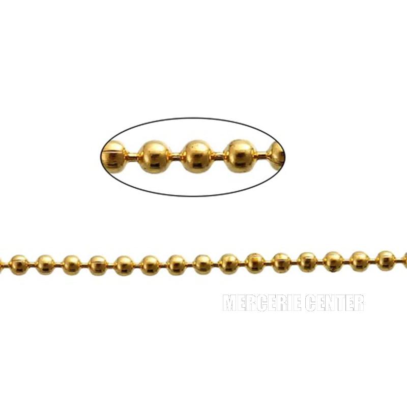 Chaine a Bille Couleur Doré Diametre 2,4mm Chaine Boulle