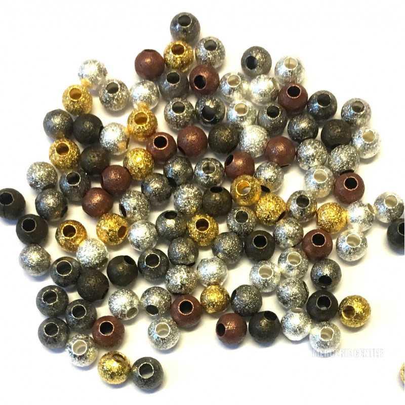50 Perles Stardust 4mm Metal Mixte