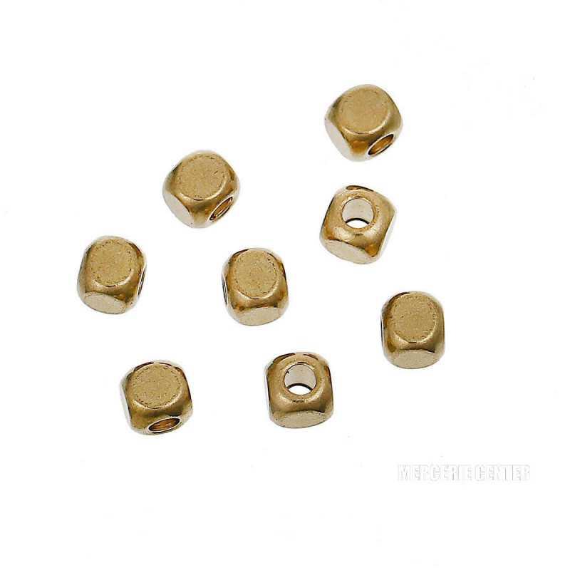 50 Perles Cube Metal 3mm Doré