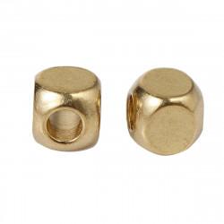 50 Perles Cube Metal 3mm Doré MC0103004