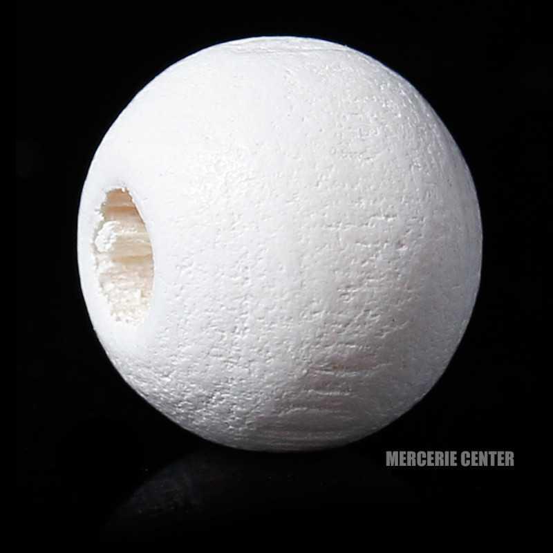 20 Perles en Bois 8mm Blanc