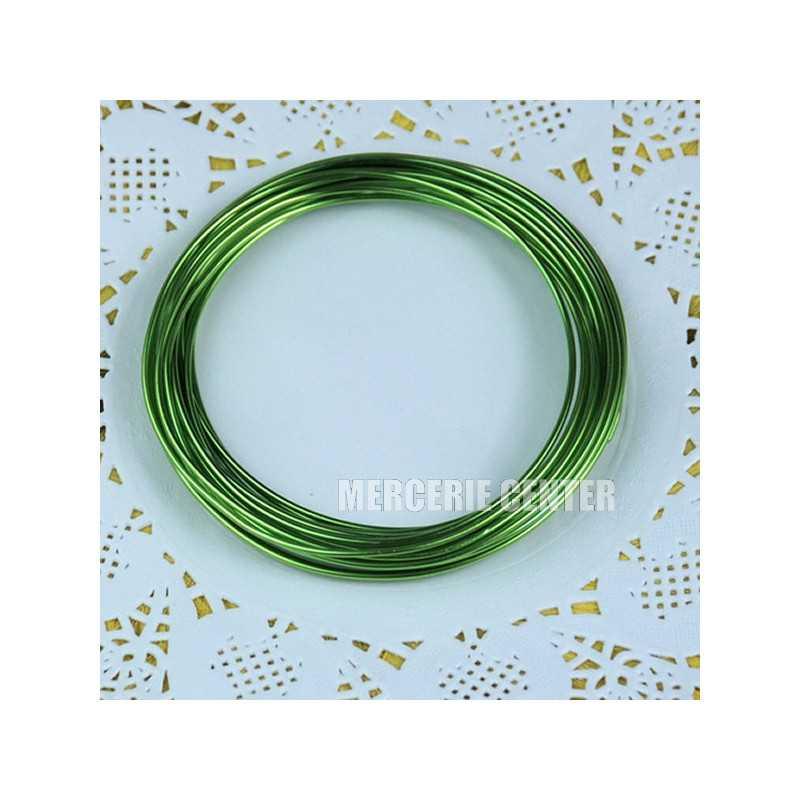 10m Fil Aluminium 1mm Couleur Vert