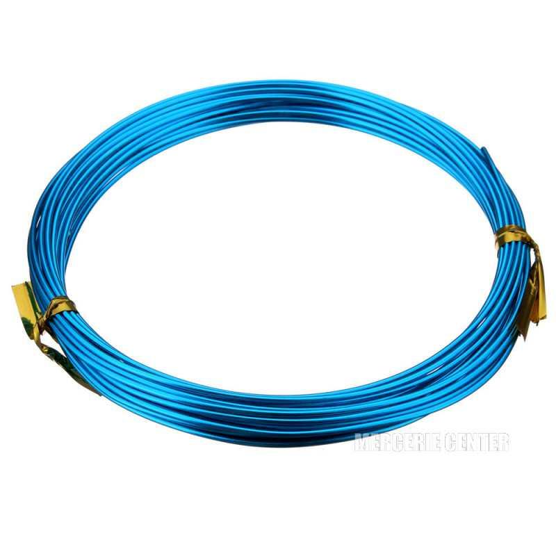 5m Fil Aluminium 1,5mm Couleur Bleu