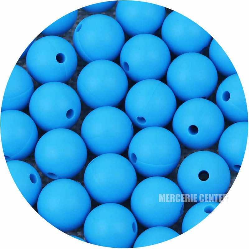 10 Perle Silicone 9mm Couleur Bleu