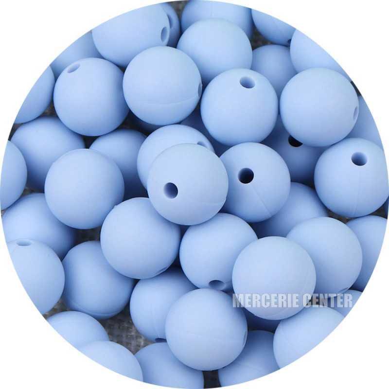 10 Perle Silicone 9mm Couleur Bleu Clair