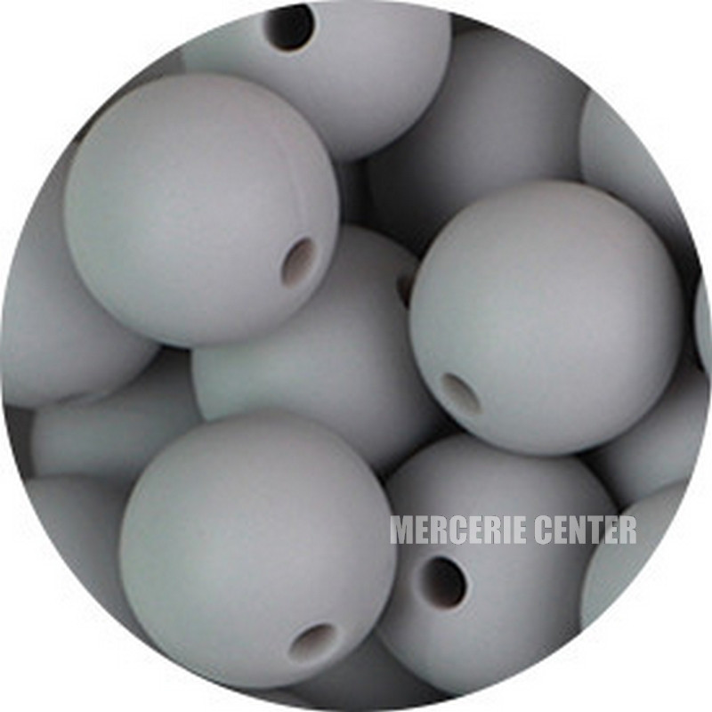 10 Perle Silicone 9mm Couleur Gris