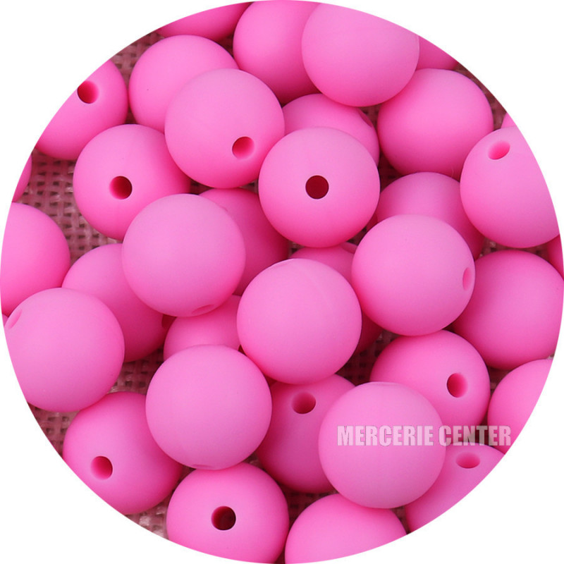 10 Perle Silicone 9mm Couleur Rose