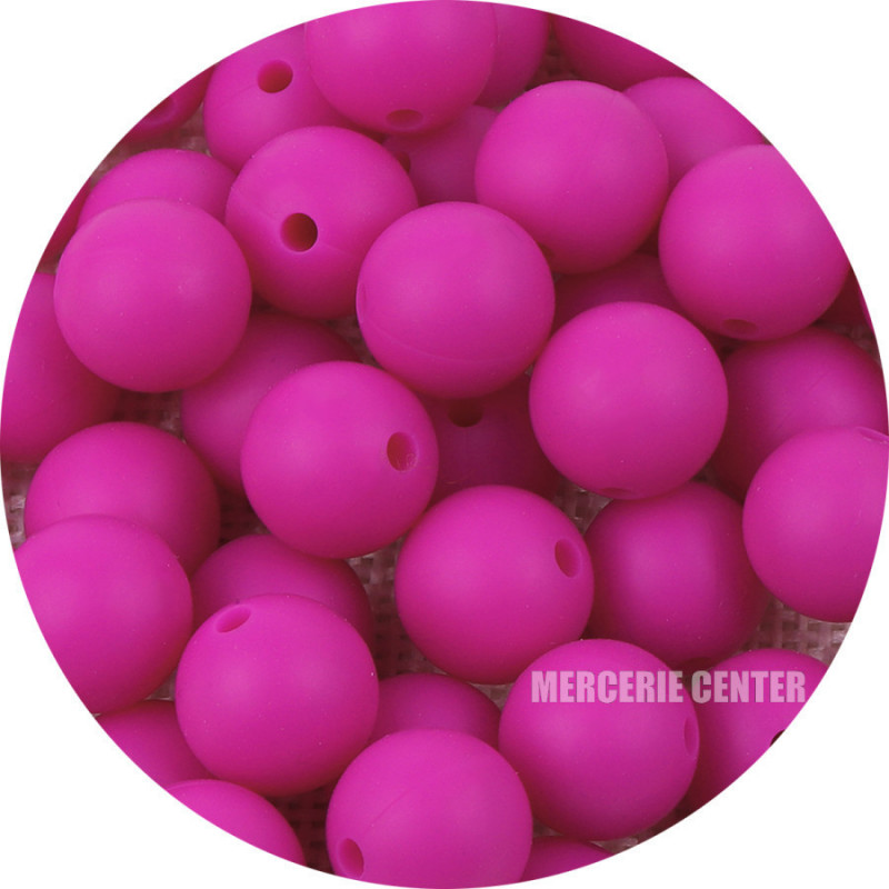 10 Perle Silicone 9mm Couleur Violet Fuchsia