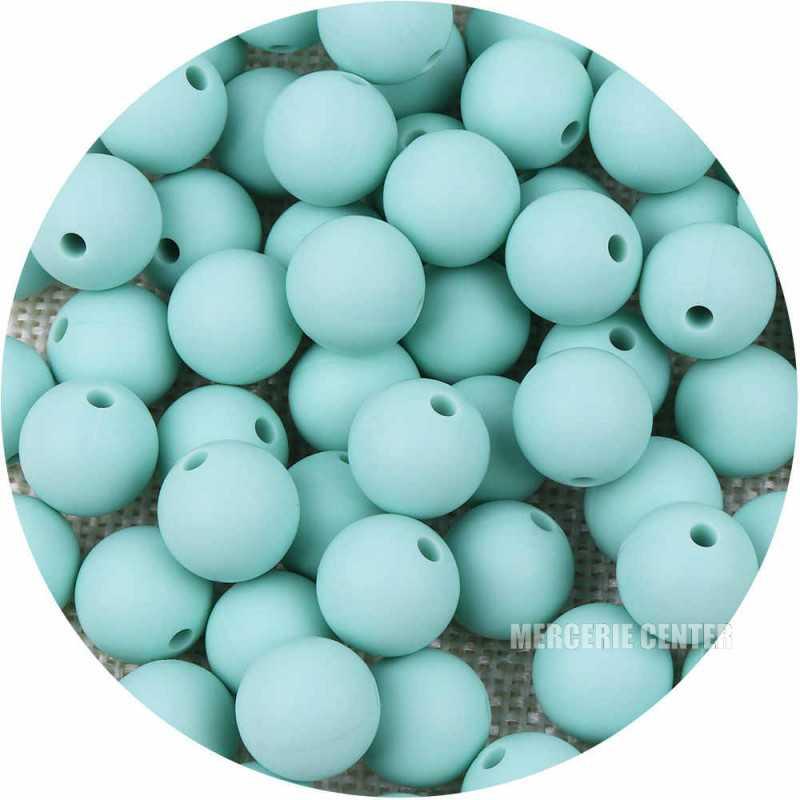 10 Perle Silicone 9mm Couleur Vert Tilleul