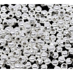 100 Perles en Métal Argente 3mm Brillant MC0103006