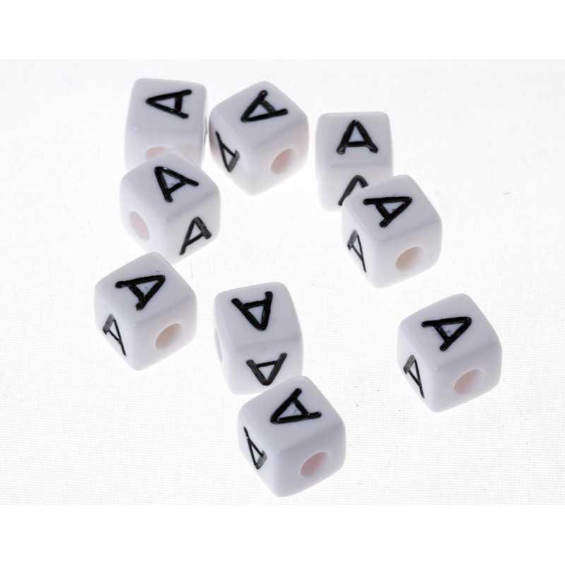 Perle Blanche Acrylique Lettre Alphabet 10mm x 2 pièces