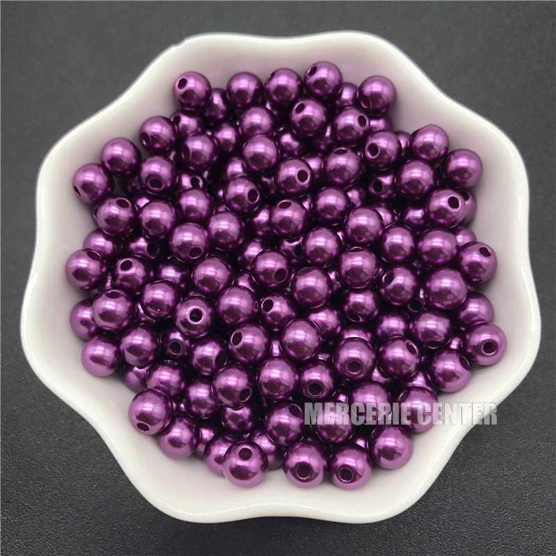 50 Perles 6mm Imitation Brillant Couleur Violet Foncé